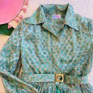 70s Paisley Eyelet Maxi Long Sleeve Dress S M